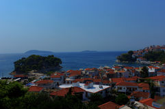 De haven van Skiathos en stad, Griekenland Stock Foto