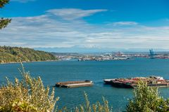De Haven van Tacoma en Regenachtiger stock afbeelding