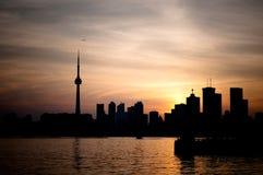 De Haven van Toronto bij Zonsondergang Stock Foto