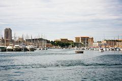 De haven van Vieux (Oude haven) in Marseille Stock Fotografie