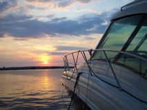 De haven van Yaht bij zonsondergang Stock Fotografie