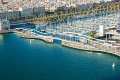 De havenmening van Barcelona van de lucht. Stock Fotografie