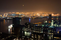 De havennacht van Rotterdam Stock Foto