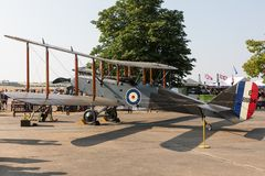De Havilland DH-9 E-8894 i den statiska skärmen på IWMEN Duxford som flyger legendairshow, Cambridge, UK fotografering för bildbyråer