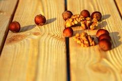 De hazelnoot ligt op een houten achtergrond van grote noten royalty-vrije stock foto's