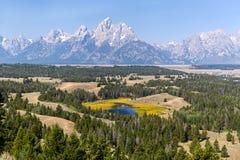 De Hedrickvijver overziet in Grand Teton Nationaal Park Stock Fotografie