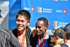 De heer Yuki Kawauchi gewonnen 1st plaats bij de marathon van Vancouver royalty-vrije stock foto
