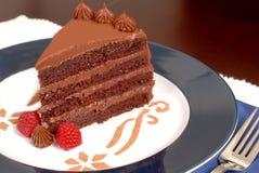 De heerlijke cake van de 4 laagchocolade met frambozen Stock Foto