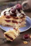 De heerlijke cake van de de zomerkers op een purpere plaat stock foto