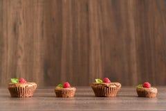 De heerlijke cakes van de chocoladelava met verse frambozen en munt Stock Foto's
