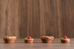 De heerlijke cakes van de chocoladelava met verse frambozen en munt Stock Foto