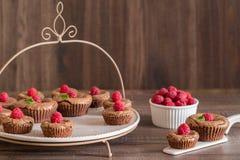 De heerlijke cakes van de chocoladelava met verse frambozen en munt, op de porcelan plaat Royalty-vrije Stock Foto