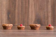 De heerlijke cakes van de chocoladelava met verse frambozen in rij Royalty-vrije Stock Afbeeldingen