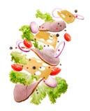 De heerlijke daling van sandwichingrediënten van de lucht op een geïsoleerde witte achtergrond Stock Afbeelding