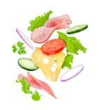 De heerlijke daling van sandwichingrediënten van de lucht op Royalty-vrije Stock Foto's