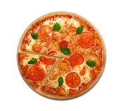 De heerlijke Italiaanse vegetarische hoogste geïsoleerde mening van pizzamargherita Royalty-vrije Stock Foto