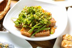 De heerlijke salade van de eikelgelei in een schotel royalty-vrije stock afbeeldingen