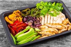 De heerlijke Schotel van Kippenfajita met Avocado, close-up Stock Foto