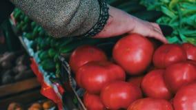 De heerlijke verse uipeper en andere groenten met prijskaartjes zijn op marktteller stock videobeelden