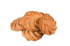 De heerlijke zoete koekjes met papaverzaden op wit isoleren dichte omhooggaand als achtergrond Verse gebakjes, bakkerij, koffie royalty-vrije stock foto's