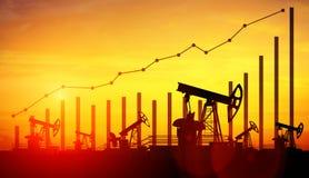 De hefbomen van de oliepomp op de achtergrond van de zonsonderganghemel Concept het kweken van olieprijzen royalty-vrije stock fotografie