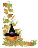 De hefboom-o-Lantaarn van de Pompoen van Halloween en de Grens van Wijnstokken Stock Foto