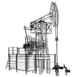 De hefboom van de oliepomp in draad-kader stijl stock illustratie
