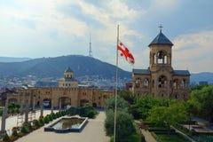 De Heilige die Drievuldigheidskathedraal van Tbilisi algemeen als Sameba wordt bekend is de belangrijkste kathedraal van de Georg stock foto's