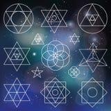 De heilige elementen van meetkundesymbolen overzicht vaag vector illustratie