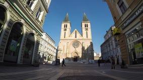 De Heilige Hartkathedraal Katedrala Srca Isusova is een Katholieke kerk algemeen in Sarajevo refe stock footage