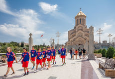 De heilige Kathedraal van de Drievuldigheid van Tbilisi stock foto's
