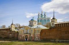 De heilige Kathedraal van de Veronderstelling smolensk Rusland Mening van brug Royalty-vrije Stock Afbeelding