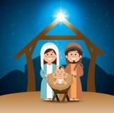De heilige trog van familie vrolijke Kerstmis Stock Foto's