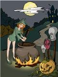 De heks bereidt een vergift voor Stock Fotografie