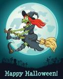 De heks die op een bezem bij volle maan vliegen stock illustratie
