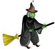 De Heks die van Halloween op de Stok van de Bezem vliegt Royalty-vrije Stock Foto's