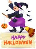 De heks en de banner van Halloween met tekst Stock Afbeelding