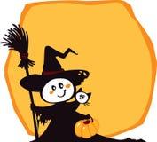 De heks en de kat van Halloween op een gele achtergrond Royalty-vrije Stock Foto