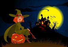 De heks en de pompoen van Halloween Royalty-vrije Stock Afbeeldingen