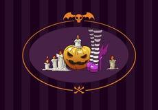 De heks en de pompoen van Halloween Stock Foto's