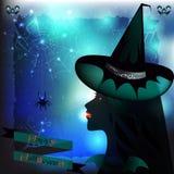 De Heks en de Spin van Halloween Royalty-vrije Stock Afbeeldingen