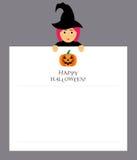 De heks houdt een blocnoteblad voor de ingangen Modern vlak ontwerp Pompoen en inschrijving gelukkig Halloween Royalty-vrije Stock Afbeeldingen