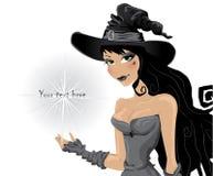 De heks nodigt aan een Halloween partij uit Stock Foto's