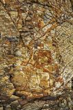 De heks op een bezem plaatste in steen stock foto's