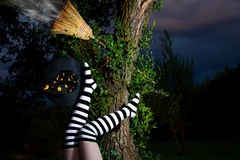 De heks is van haar bezemsteel gevallen Stock Afbeelding