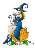 De heks van Halloween met kat Stock Foto's