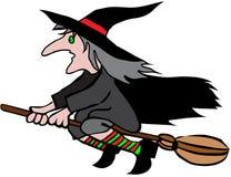 De heks van Halloween op bezemsteel Royalty-vrije Stock Afbeelding