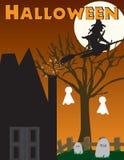 De heks van Halloween, spookhuisscène Royalty-vrije Illustratie