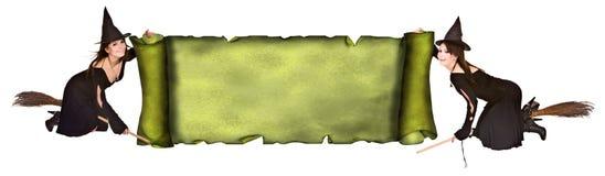De heks van het meisje met oude rolbanner in grungestijl. Stock Foto
