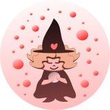 De heks van Lil en de Kristallen bol stock illustratie